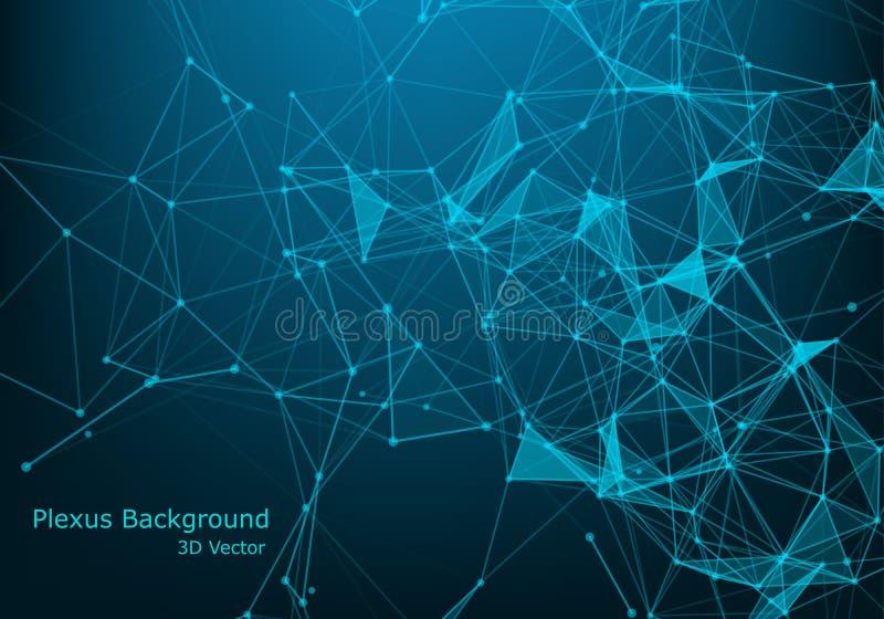 Abstrakt polygonal bakgrund med förbindelselinjer och prickar Minimalistic geometrisk modell Molekylstruktur och kommunikation royaltyfri illustrationer
