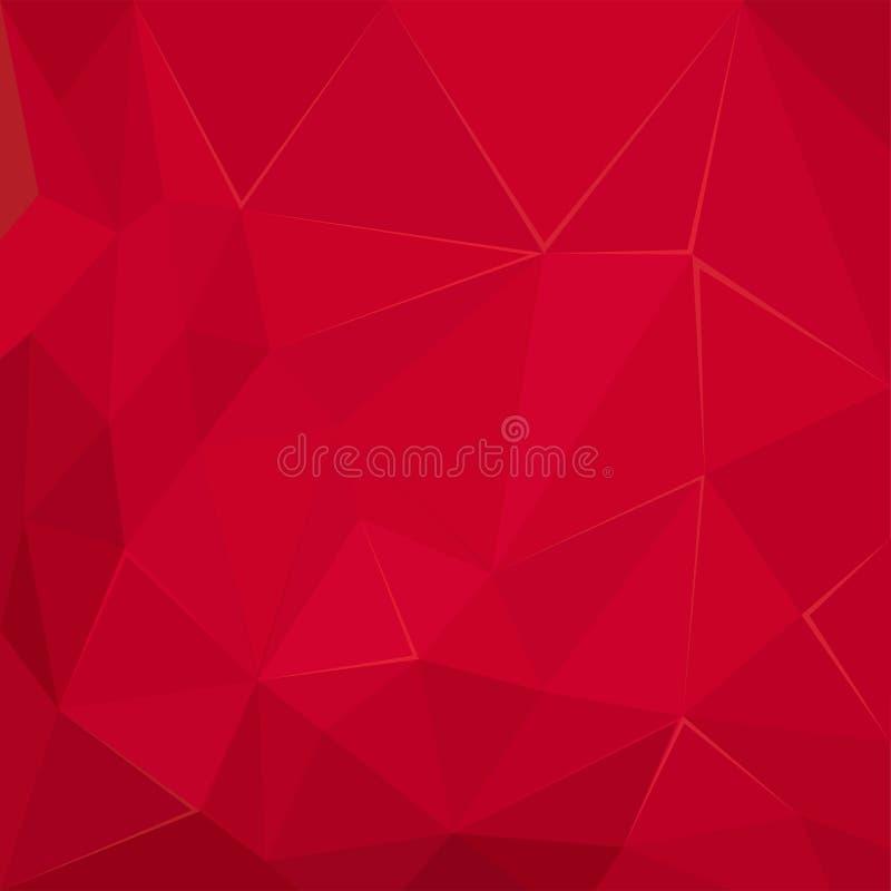 Abstrakt polygonal geometrisk röd illustration för fasettbakgrundstapet vektor illustrationer
