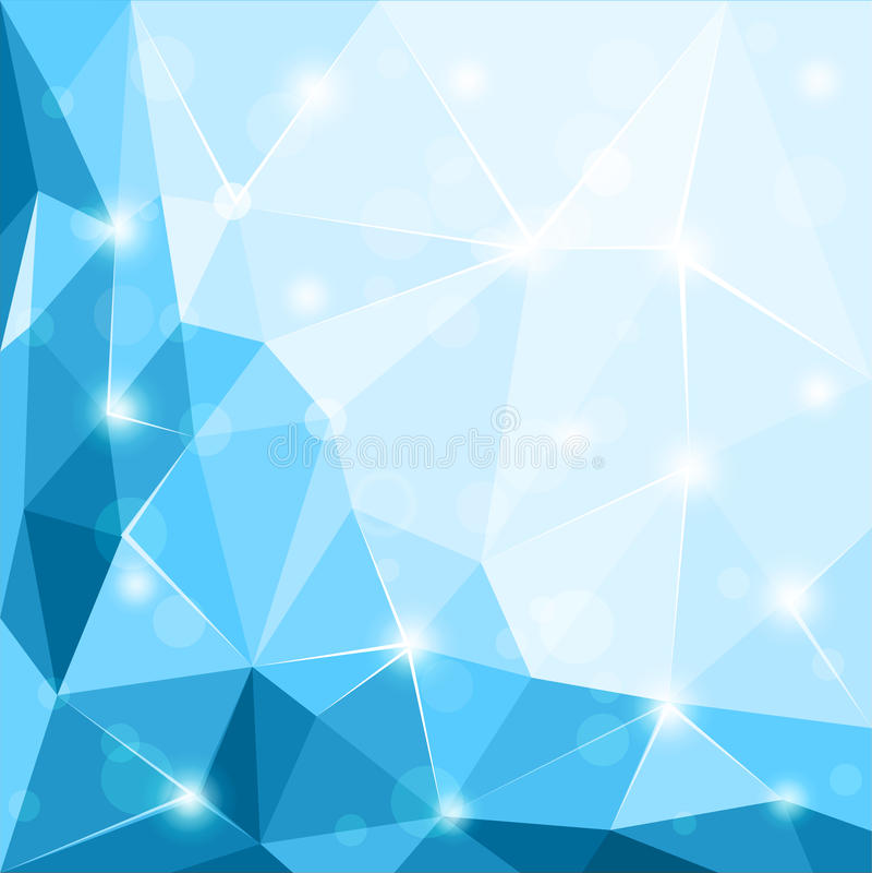 Abstrakt polygonal geometrisk skinande blå bakgrundstapetillustration stock illustrationer