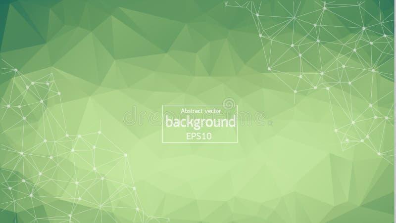 Abstrakt polygonal grön bakgrund med förbindelseprickar och linjer, anslutningsstruktur, futuristisk hudbakgrund royaltyfri illustrationer