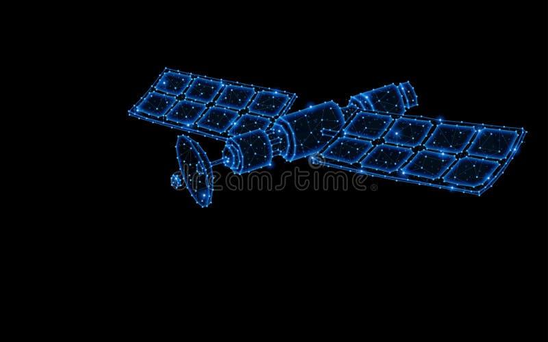 Abstrakt polygonal ljus design av den orbital satelliten royaltyfri illustrationer