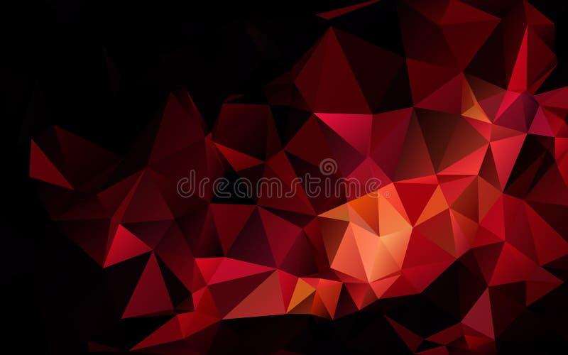 Abstrakt polygonal mörker - röd geometrisk bakgrund lågt poly vektor illustrationer