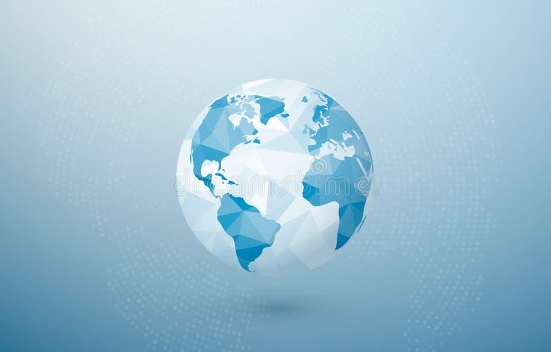 Abstrakt polygonal planet Begrepp för global kommunikation Idérikt jordbegrepp Vektorillustration på blå bakgrund royaltyfri illustrationer
