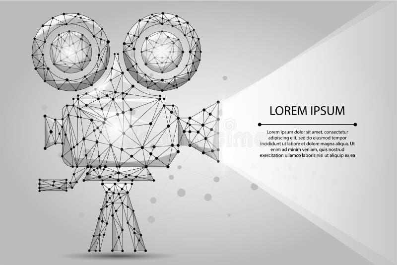 Abstrakt polygonal Retro bioprojektor Filmtid Bio film, festivalaffisch royaltyfri illustrationer