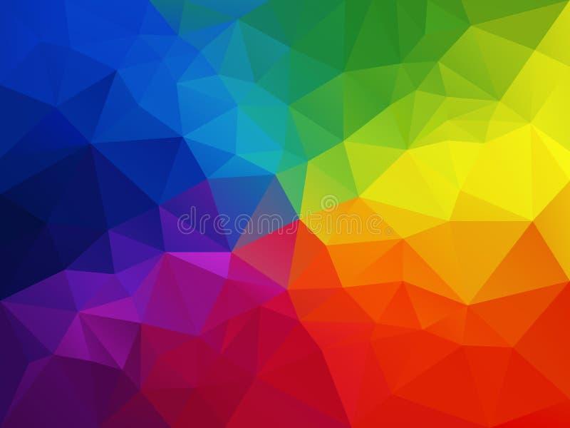 Abstrakt polygonbakgrund för vektor med en triangelmodell i mång- färg - färgrikt regnbågespektrum royaltyfri illustrationer