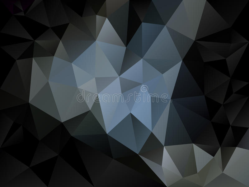 Abstrakt polygonbakgrund för vektorn med en triangelmodell i ljus och mörker - gråna och svärta färg vektor illustrationer
