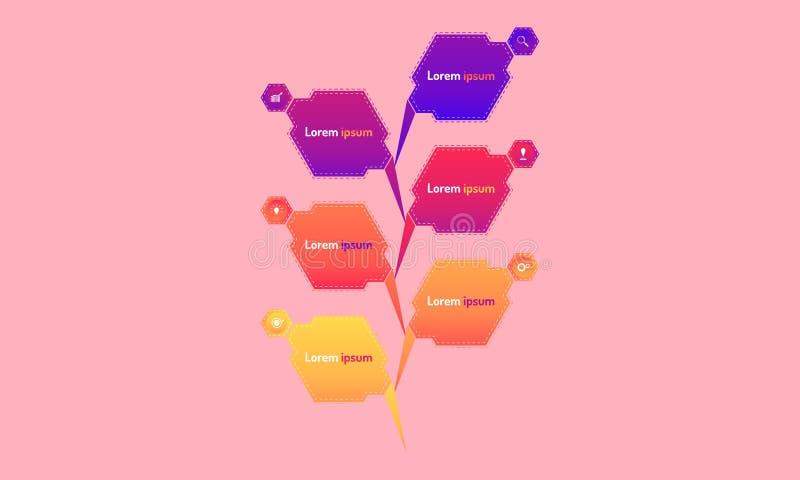 Abstrakt popup stil för den moderna designen för polygondatabeståndsdelar infographic med markpointgrafen tänker symboler för sök vektor illustrationer