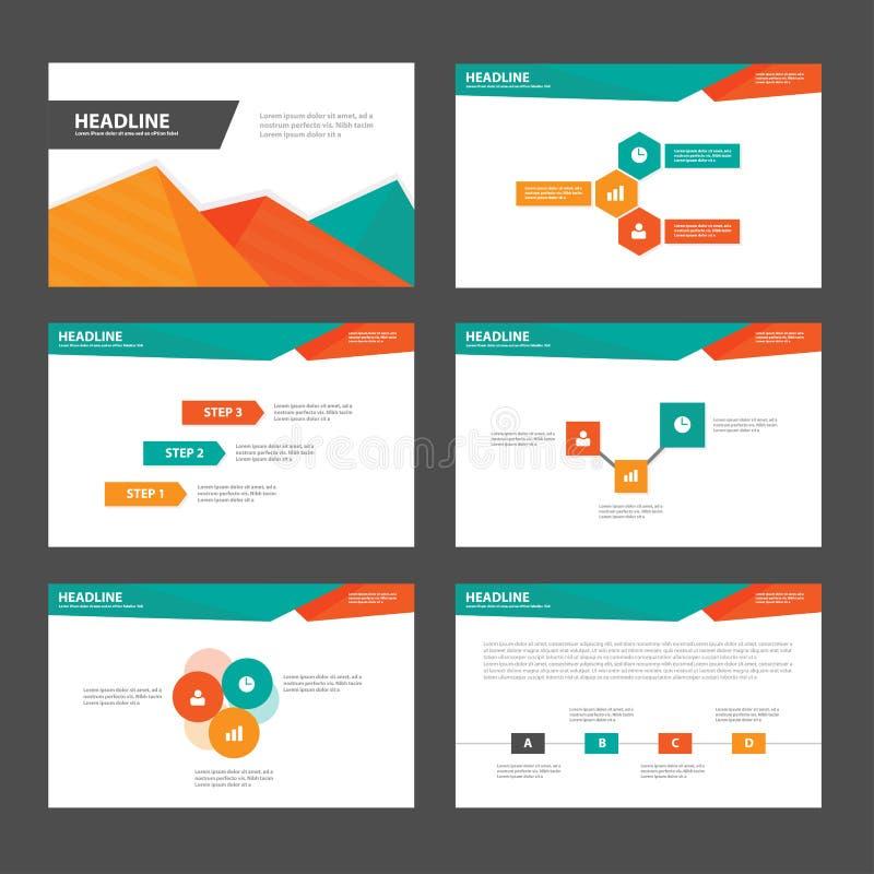 Abstrakt prezentaci szablonów Infographic Zielonych pomarańczowych elementów płaski projekt ustawia dla broszurki ulotki ulotki m royalty ilustracja