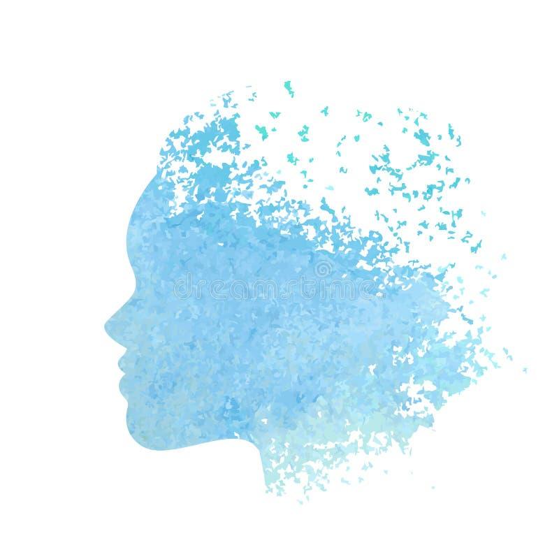 Abstrakt profil av den härliga kvinnan stock illustrationer