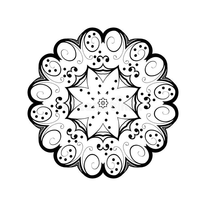 Abstrakt prydnad i cirkel Utsmyckad mandala med växt- motiv Beståndsdel för design stock illustrationer