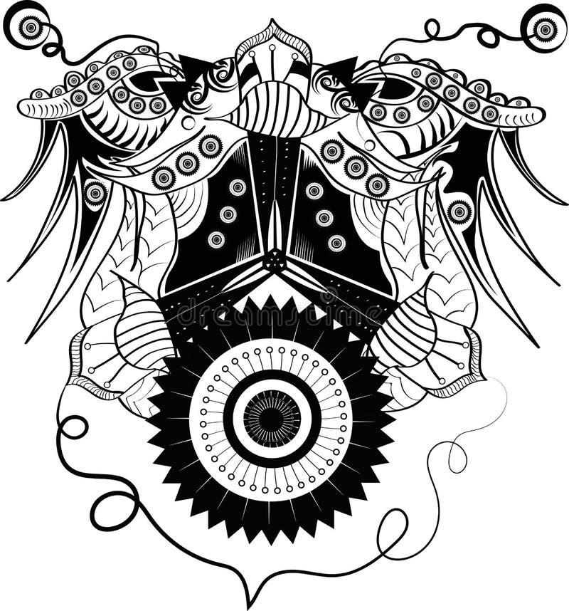 Abstrakt prydnadcyborg stock illustrationer