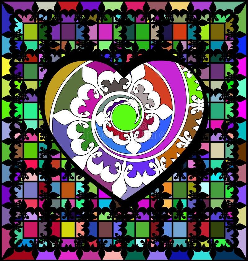 Abstrakt prydnadfärggaller och stor hjärta stock illustrationer
