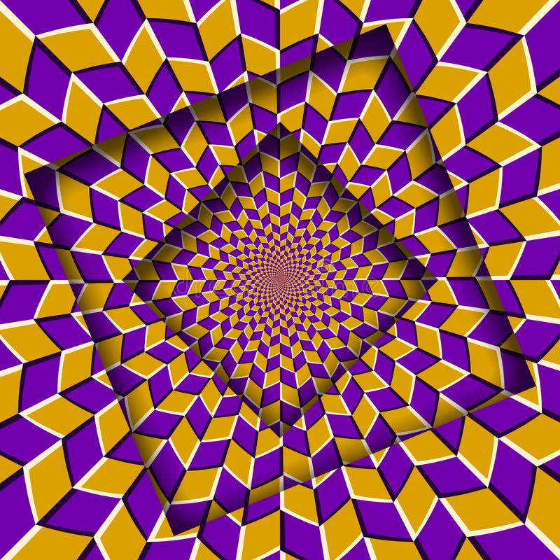 Abstrakt przesuwać ramy z chodzeń rhombuses żółtym purpurowym wzorem okulistyczny t?a z?udzenie royalty ilustracja