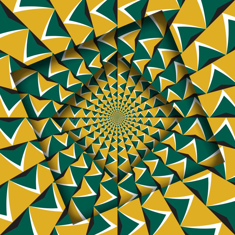Abstrakt przesuwać ramy z chodzenie zieleni strzał żółtym wzorem okulistyczny t?a z?udzenie royalty ilustracja