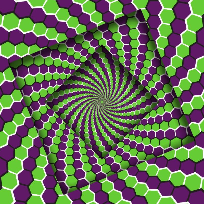 Abstrakt przesuwać ramy z chodzenie zieleni sześciokątów spirali purpurowym wzorem okulistyczny t?a z?udzenie ilustracja wektor
