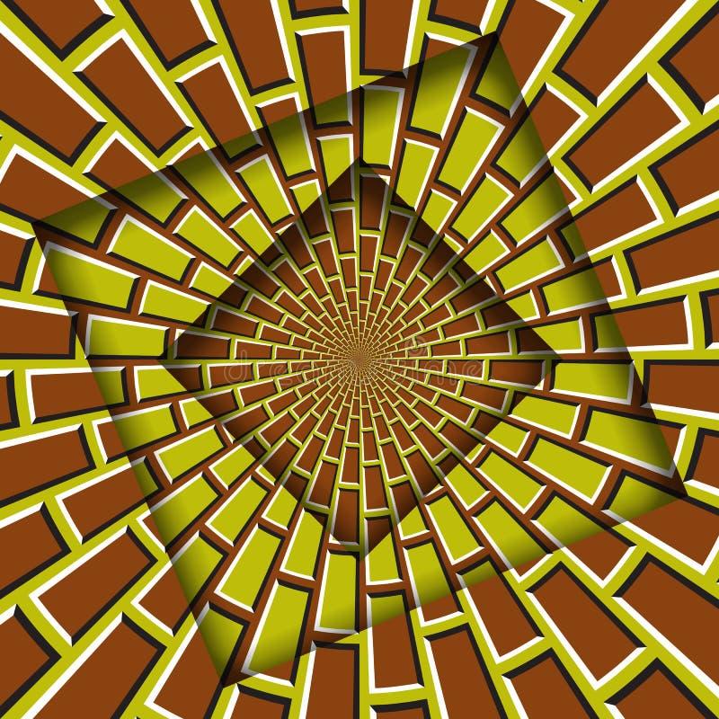 Abstrakt przesuwać ramy z poruszającym żółtego brązu brickwork wzorem okulistyczny t?a z?udzenie ilustracji