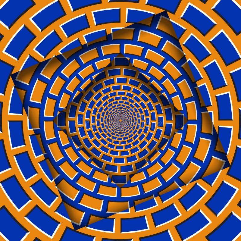 Abstrakt przesuwać ramy z poruszającym pomarańczowym błękitnym brickwork wzorem okulistyczny t?a z?udzenie ilustracja wektor