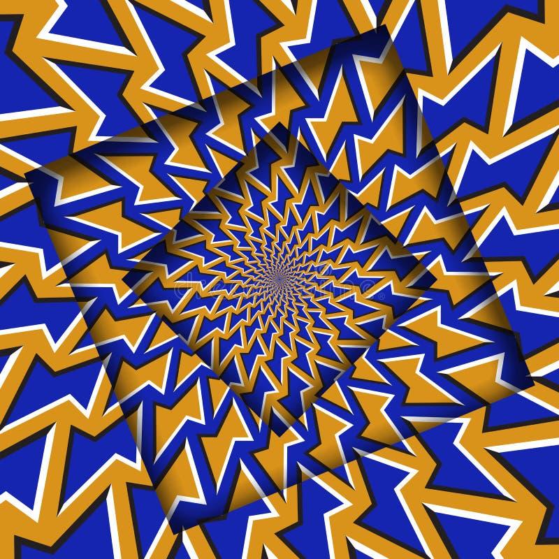 Abstrakt przesuwać ramy z poruszającym pomarańczowym błękitnym wieloboka wzorem okulistyczny t?a z?udzenie ilustracja wektor