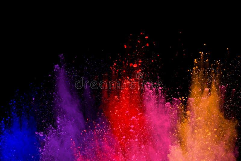 abstrakt pulver splatted bakgrund Färgrik pulverexplosion på svart bakgrund Kulört moln Färgrikt damm exploderar Målarfärg Ho arkivfoto