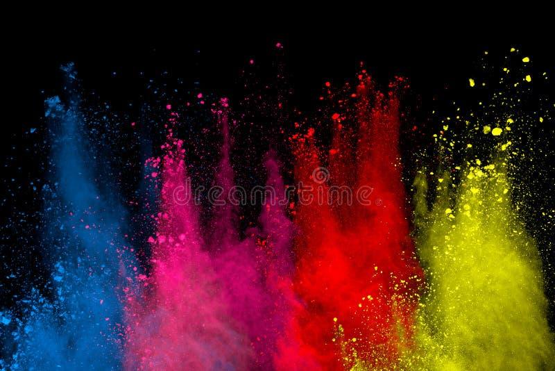 abstrakt pulver splatted bakgrund Färgrik pulverexplosion på svart bakgrund Kulört moln Färgrikt damm exploderar Målarfärg Ho royaltyfri bild