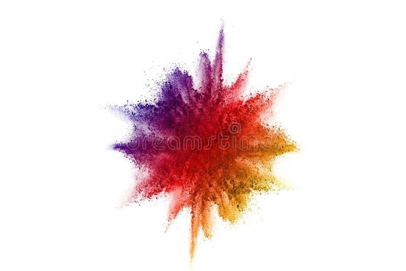abstrakt pulver splatted bakgrund Färgrik pulverexplosion på vit bakgrund Kulört moln Färgrikt damm exploderar målarfärg arkivfoto