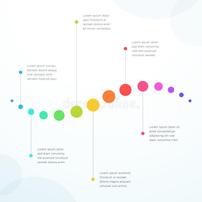 Abstrakt 6 punktów Kolorowa Płaska Horyzontalna linia czasu ilustracja wektor