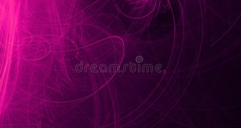 Abstrakt purpur i menchii światła łuny, promienie, kształtują na ciemnym tle royalty ilustracja