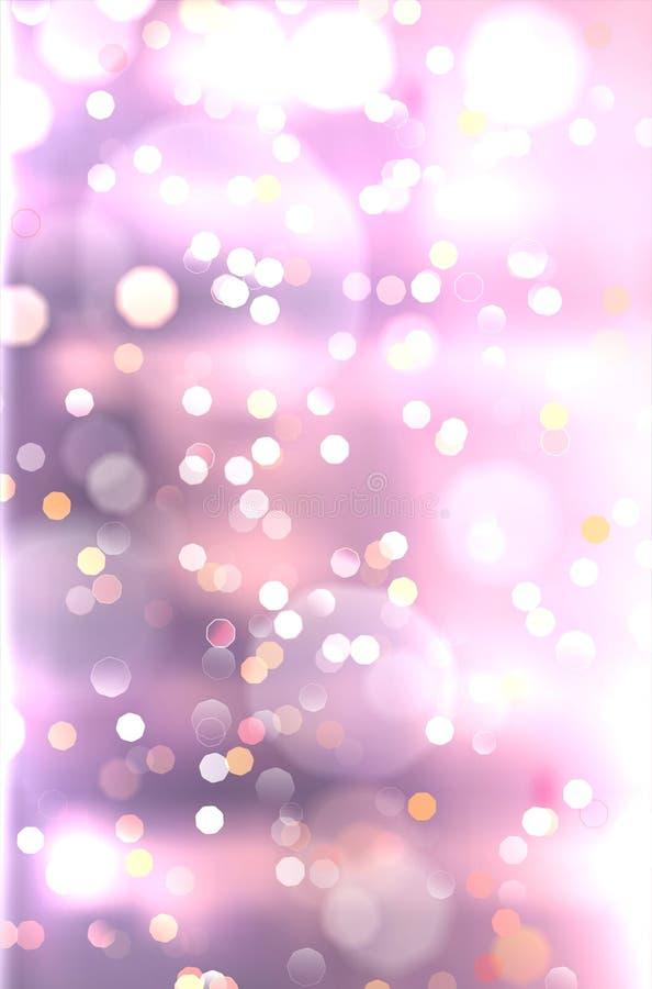 Abstrakt purpurfärgad bakgrund med skinande suddiga bokehljus royaltyfri illustrationer