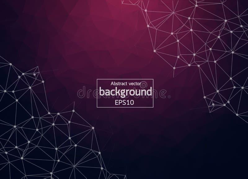 Abstrakt purpurfärgad ljus geometrisk Polygonal bakgrundsmolekyl och kommunikation Förbindelselinjer med prickar Begrepp av scien royaltyfri illustrationer