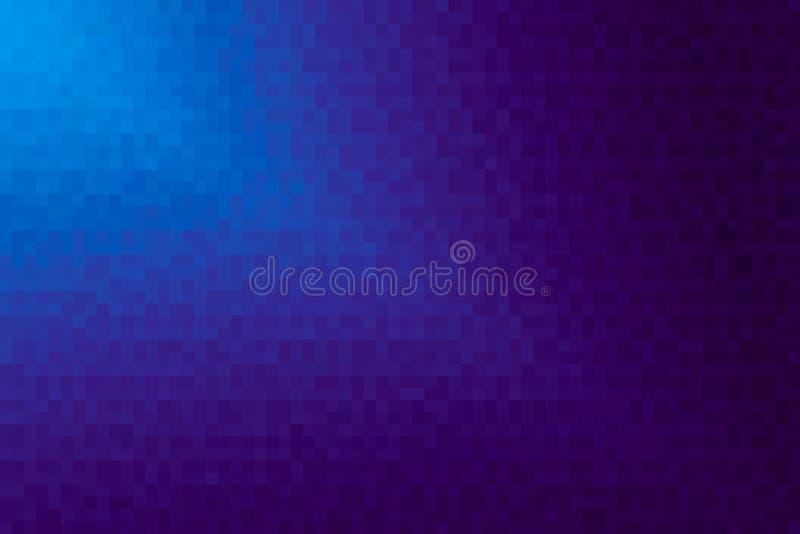 Abstrakt purpurfärgad och blå diagonal lutningbakgrund Textur med fyrkantiga kvarter för PIXEL Mosaisk modell vektor illustrationer