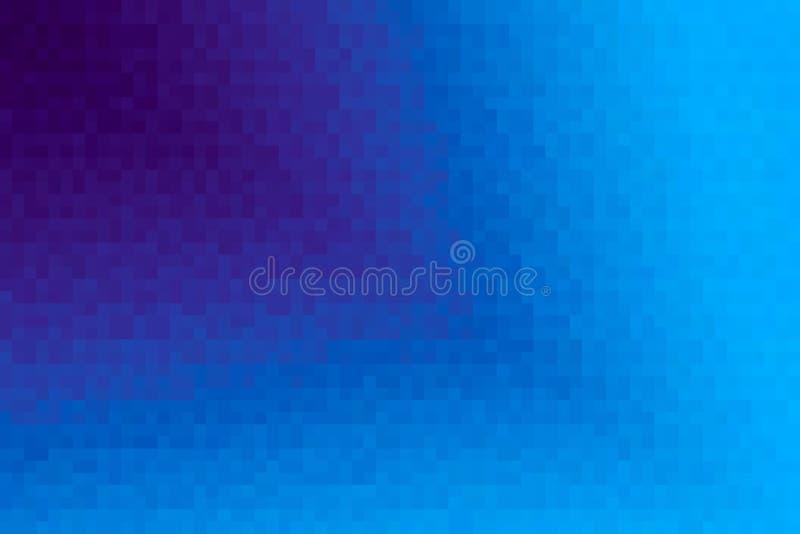 Abstrakt purpurfärgad och blå diagonal lutningbakgrund Textur med fyrkantiga kvarter för PIXEL Mosaisk modell royaltyfri illustrationer