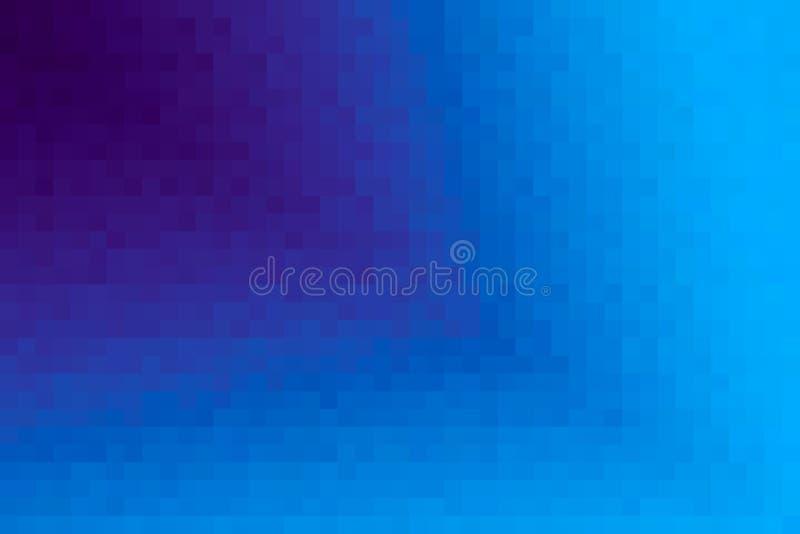 Abstrakt purpurfärgad och blå diagonal lutningbakgrund Textur med fyrkantiga kvarter för PIXEL Mosaisk modell arkivfoto