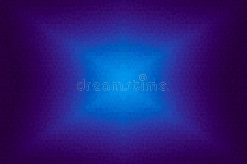 Abstrakt purpurfärgad och blå strålningslutningbakgrund Textur med fyrkantiga kvarter för PIXEL Mosaisk modell royaltyfri illustrationer