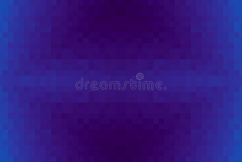 Abstrakt purpurfärgad och blå strålningslutningbakgrund Textur med fyrkantiga kvarter för PIXEL Mosaisk modell vektor illustrationer