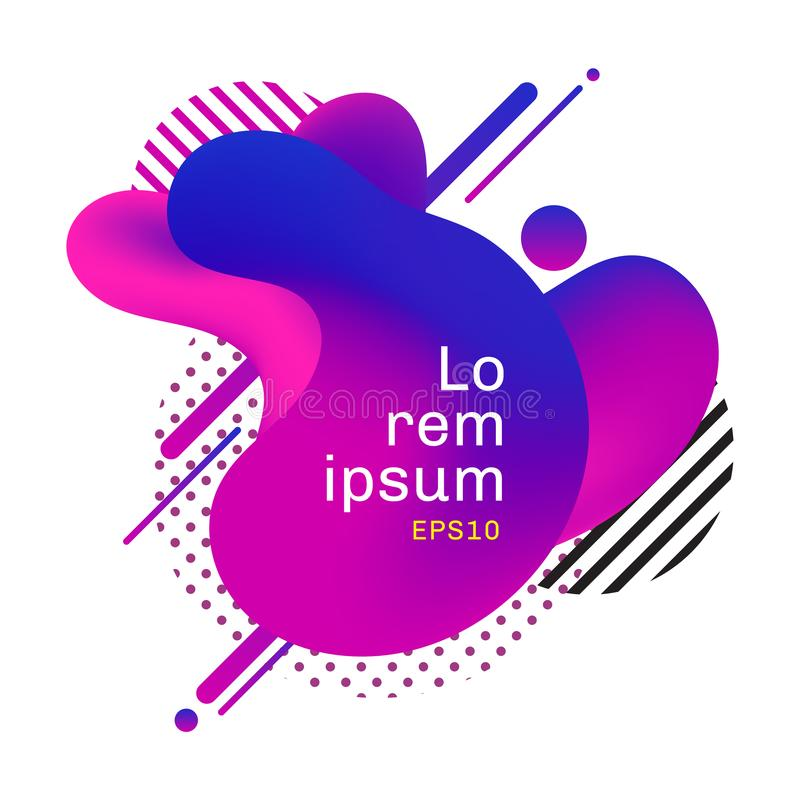 Abstrakt purpurfärgad och rosa vätskebakgrund för formvätskedesign med geometriska linjer, prickmodell Mallbruk för banerrengörin stock illustrationer