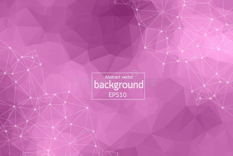 Abstrakt purpurfärgad Polygonal utrymmebakgrund med förbindande prickar och linjer Geometrisk Polygonal bakgrundsmolekyl och comm royaltyfri illustrationer