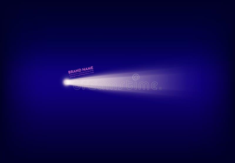 Abstrakt purpurfärgat baner för vektor med strålkastaren, ficklampa, ljus stråle, stråle av ljus stock illustrationer