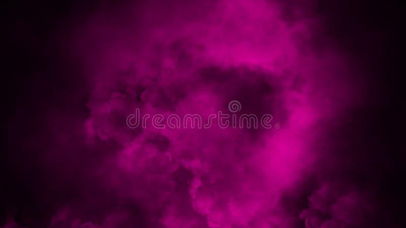 Abstrakt purpurf?rgad r?kmistdimma p? en svart bakgrund textur arkivfoto