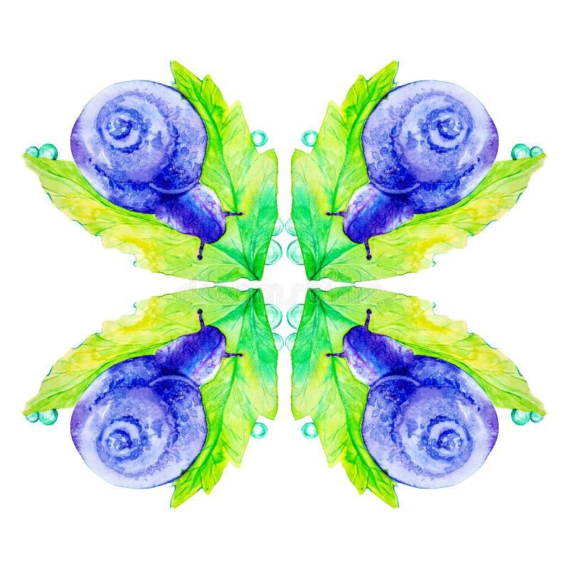 Abstrakt purpurf?rgad snigel p? ett stort gr?nt blad Vattenf?rgillustration som isoleras p? vit bakgrund seamless modell vektor illustrationer