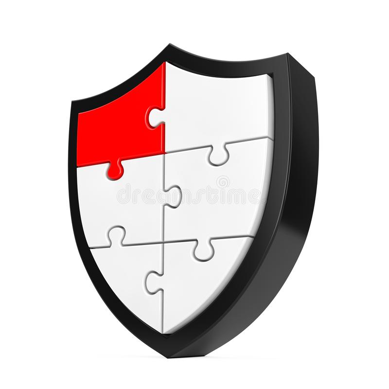 Abstrakt pusselsköldsymbol med ett rött segment framförande 3d stock illustrationer