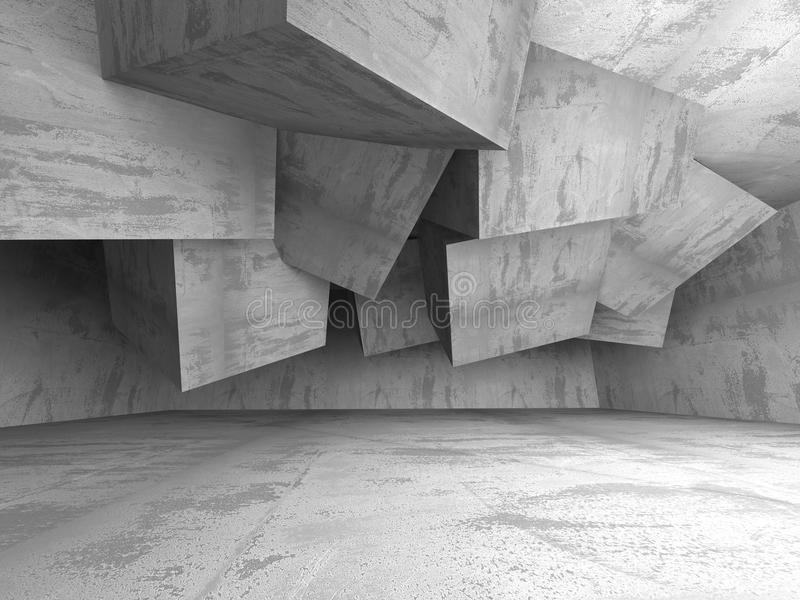 Abstrakt Pustej betonowej ściany Izbowy Wewnętrzny tło ilustracja wektor