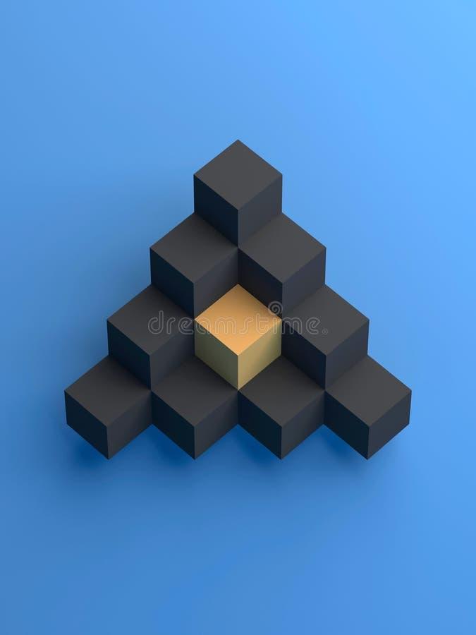 Abstrakt pyramid av svartkuber och guling royaltyfri illustrationer