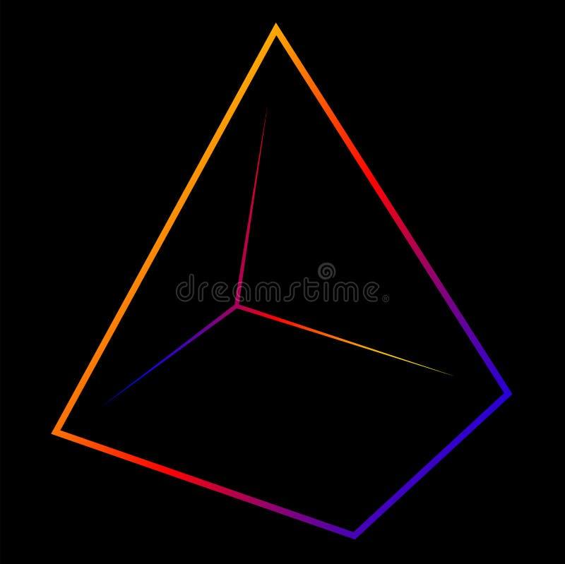 Abstrakt pyramidlogo av linjer och konturer med lutningfärg vektor illustrationer