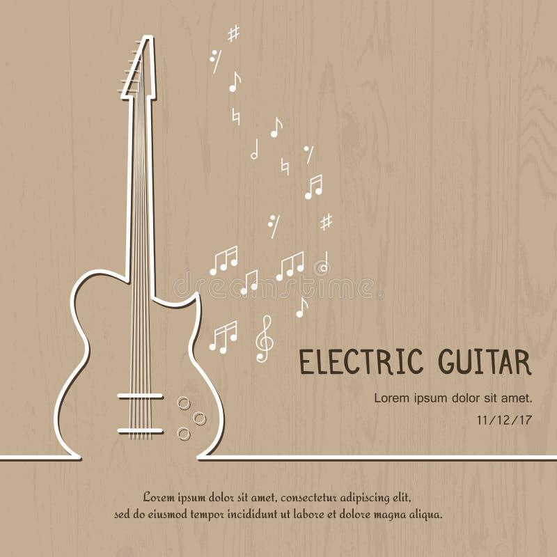 Abstrakt räkning för elektrisk gitarr för musik Grafisk vektoraffischillustration Modern gullig kortlinje bakgrund Solitt begrepp royaltyfri illustrationer