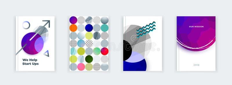Abstrakt räkningsdesign, affärsbroschyrmall, orientering, rapport, tidskrift eller häfte i A4 i mång--färgad form stock illustrationer