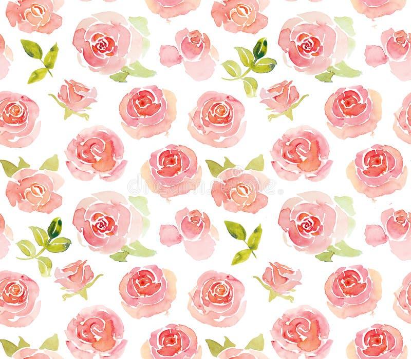 Abstrakt róż różowej akwareli bezszwowy wzór ilustracja wektor