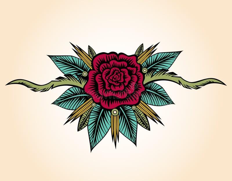 Abstrakt Różany I ciernia tatuaż royalty ilustracja