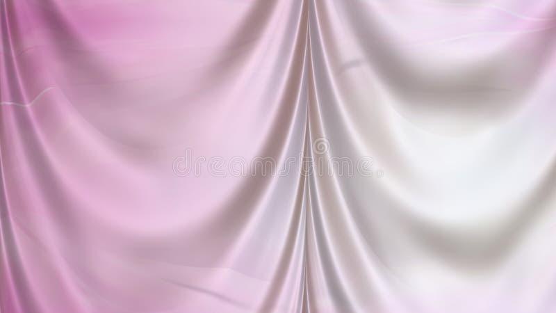 Abstrakt Różowa i Biała Atłasowa zasłony tła tekstura ilustracji
