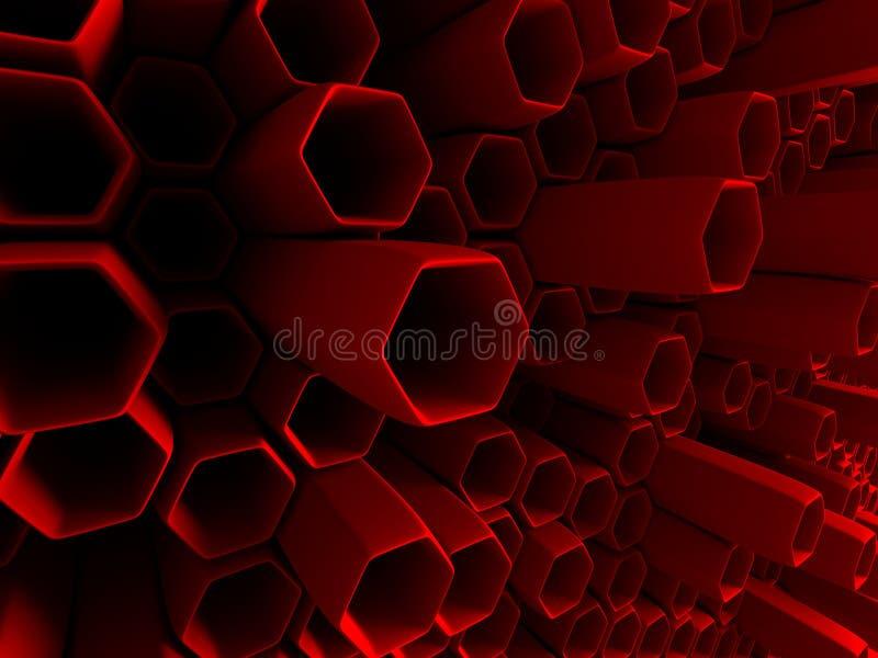 Abstrakt röd bakgrund för sexhörningsmodellrör royaltyfri illustrationer