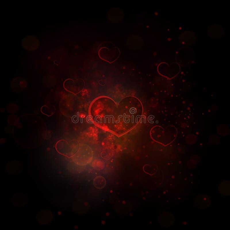 Abstrakt röd bakgrund med effektbokeh, hjärta och ljus i c stock illustrationer